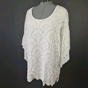 Beme Plus Size 22 White Line Embroidered Top